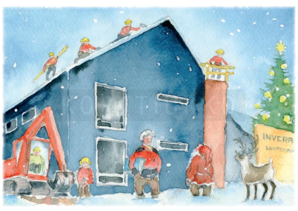 Invera Oy:lle räätälöity joulukortti joululle 2017