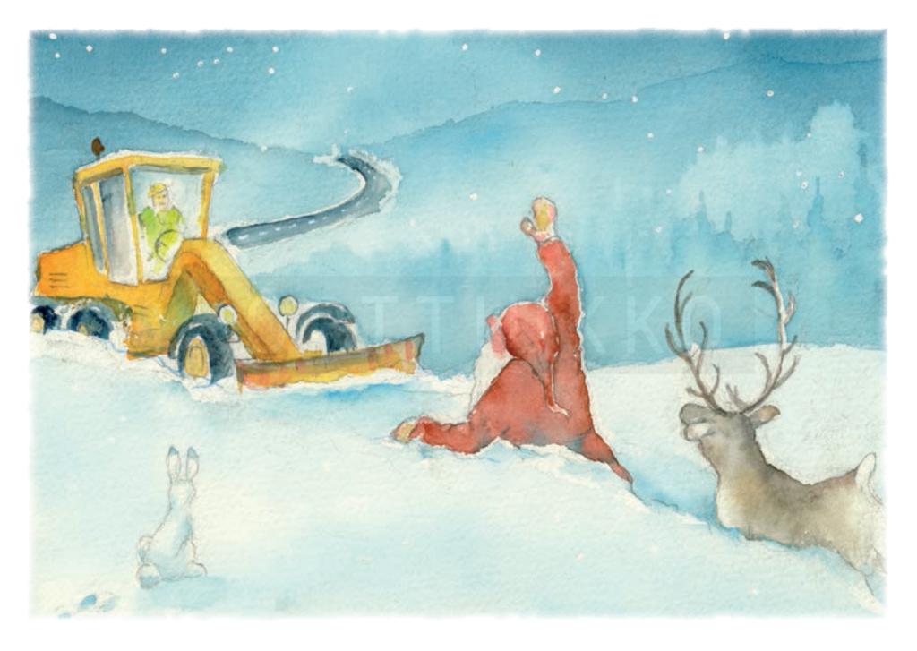 Katu-Karhu Oy:lle räätälöity joulukortti joululle 2017