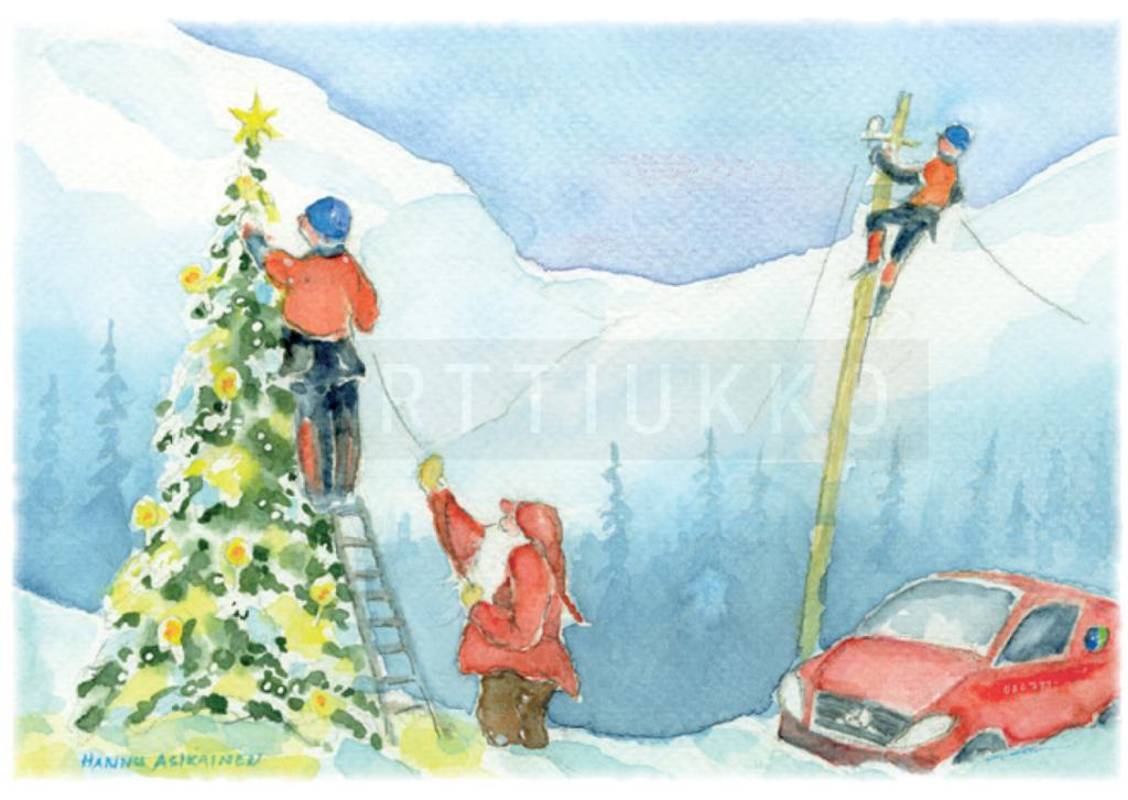Korpisähkö Oy:lle räätälöity joulukortti joululle 2018